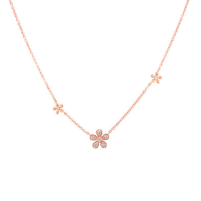 14K White Gold Diamond Multi Flower Necklace
