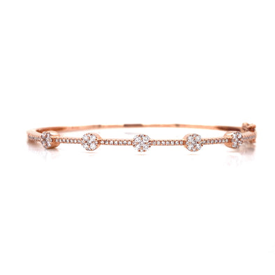 14K Rose Gold Diamond Cluster Station Bangle