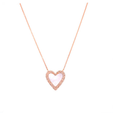 14K Rose Gold Diamond + Mother of Pearl Heart Necklace