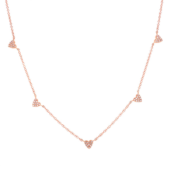14K Yellow Gold Multi-Mini Diamond Heart Necklace