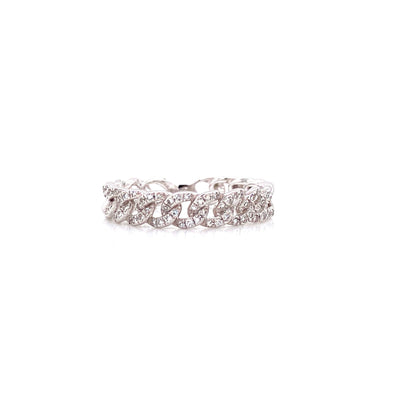 14K White Gold Diamond Curb Link Eternity Ring