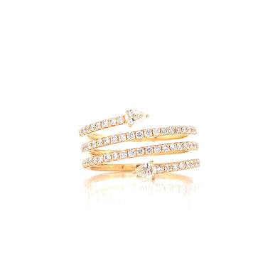 14K Yellow Gold Round + Pear Diamond Wrap Ring