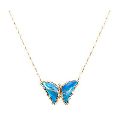 14K Yellow Gold Diamond + Opal Butterfly Necklace