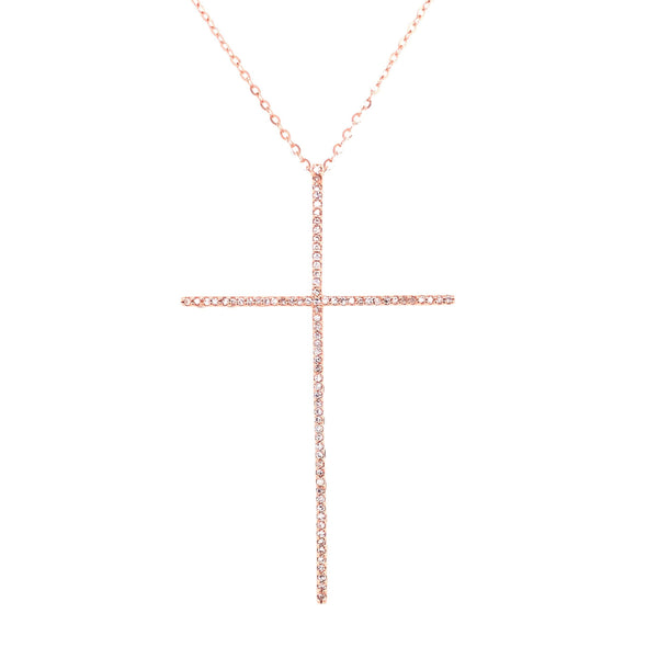 14K Yellow Gold Extra Large Diamond Cross Necklace