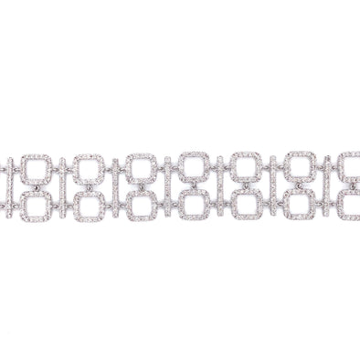 18K White Gold Diamond Square + Bar Link Bracelet