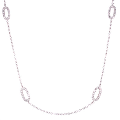 18K White Gold Diamond Oval Link Station Necklace