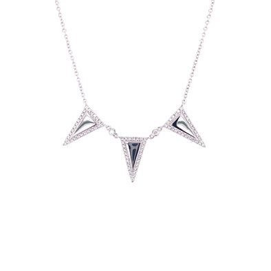 18K White Gold Diamond Triangle Necklace