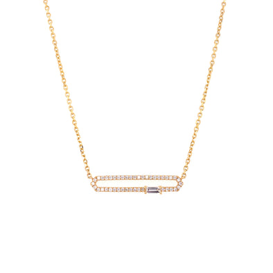 18K Yellow Gold Diamond Open Bar Adjustable Necklace