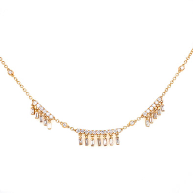 18K Yellow Gold Diamond Shaker Necklace
