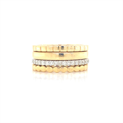 14K Yellow& White Gold Diamond Ring Set