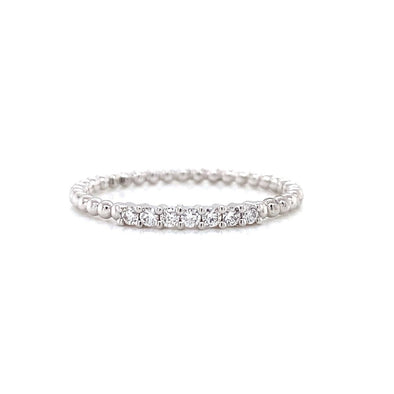 14K White Gold Diamond Top Beaded Ring