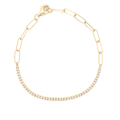 18K Yellow Gold Diamond Tennis Paperclip Bracelet
