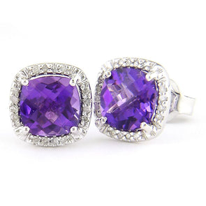 14k White Diamond & Amethyst Earrings