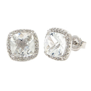 14k White Diamond & White Topaz Earrings
