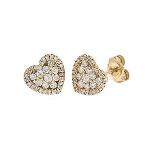 14k Yellow Diamond Heart Stud Earrings