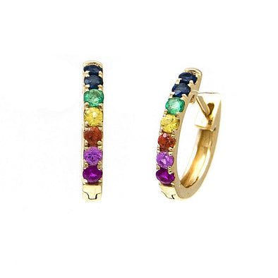 14K Yellow Gold Colored Stone Hoop Earrings