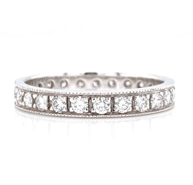 14K White Gold 0.85ct Diamond Milgrain Eternity Band