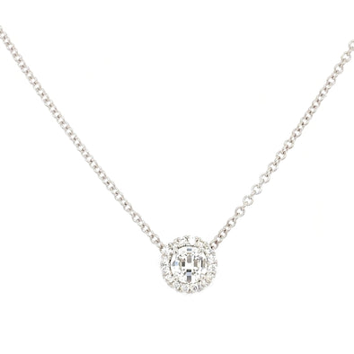 14K White Gold Round Halo Diamond Pendant