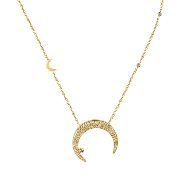 14K Yellow Gold Diamond Celestial Necklace