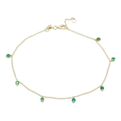 14k Yellow Gold Emerald Dangle Anklet