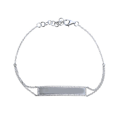 14k White Gold Diamond Engravable Bracelet