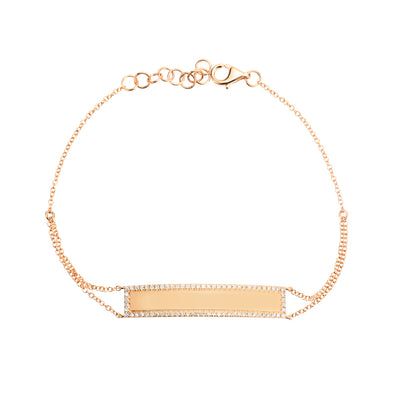 14K Yellow Gold Diamond Engravable Bracelet