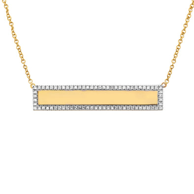 14K Yellow Gold Engravable Diamond Bar Necklace