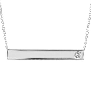 14k White Gold Engravable Polished Bar Necklace