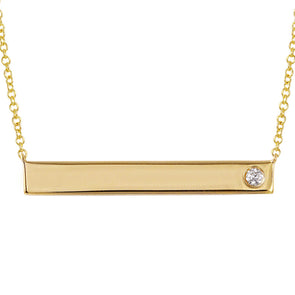14k Yellow Gold Engravable Polished Bar Necklace