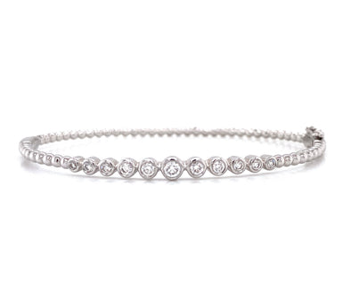 14K White Gold Graduated Diamond Bezel Set  Bangle