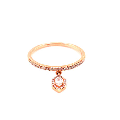 14K Rose Gold Round + Duchess Diamond Charm Ring