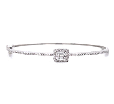 14K White Gold Round + Baguette Diamond Bangle