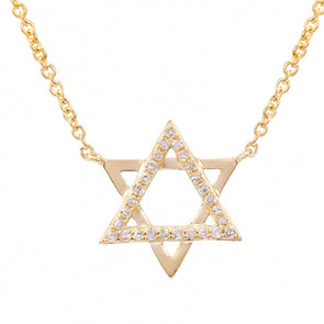 14K Yellow Gold Diamond Star of David Necklace