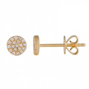 14K Yellow Gold Diamond Small Disc Earrings