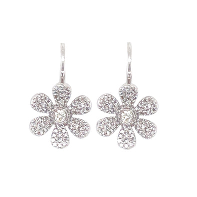 14K White Gold Diamond Flower Diamond Earring