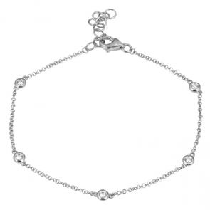 14K White Gold Diamond By The Yard Bracelet