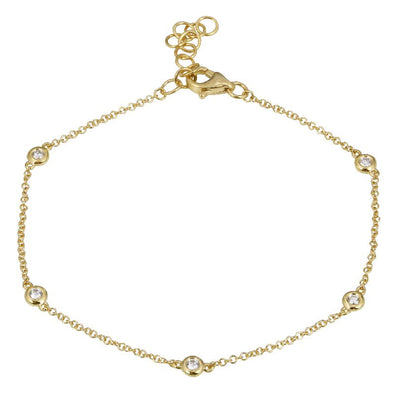 14k Yellow Gold Diamond by the Yard Diamond Bracelet