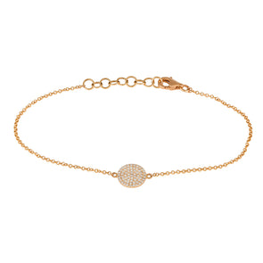 14K Rose Gold Diamond Disc Bracelet