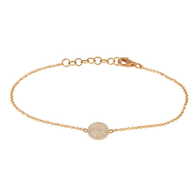 Rose 14K Diamond Disc 8Mm Bracelet