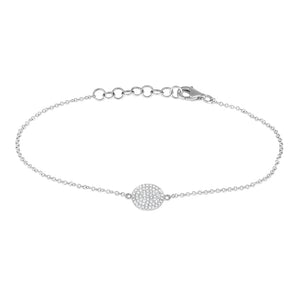 White 14K Diamond Disc 8Mm Bracelet