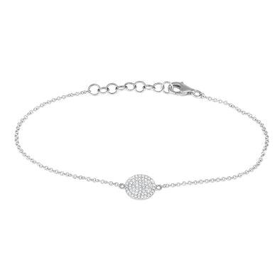14K White Gold Diamond Disc Bracelet