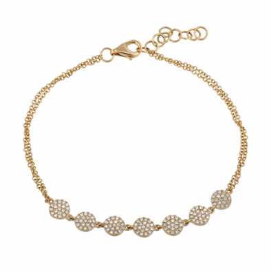14k Yellow Gold Diamond Discs Bracelet