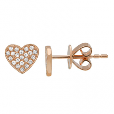 14K Rose Gold Diamond Heart Earrings