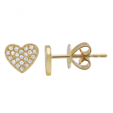 14K Yellow Gold Diamond Heart Earrings
