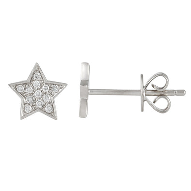 14K Rose Gold Medium Diamond Star Earrings