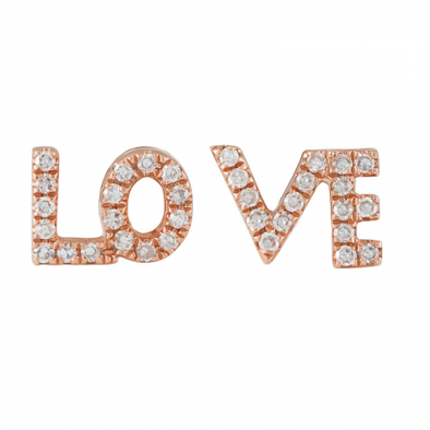 14K Rose Gold Diamond LOVE Earrings