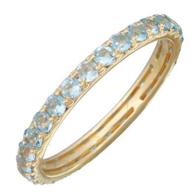 14k Yellow Gold Blue Topaz Eternity Band