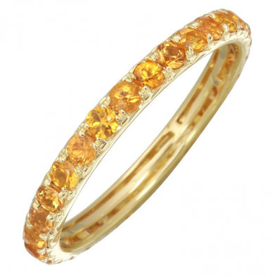 14K Yellow Gold Orange Sapphire Thin Eternity Band