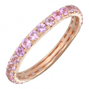 14K Rose Gold Light Pink Sapphire Thin Eternity Band