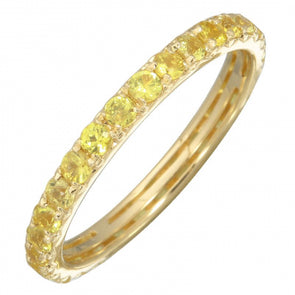 14K Yellow Gold Yellow Sapphire Thin Eternity Band